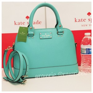 Kate Spade Domed Structured Leather Satchel in Blue