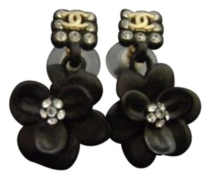 Chanel Chanel,Black,Camellia,Dangle,Earrings