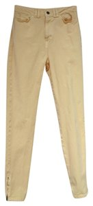 American Apparel Denim Skinny Zippered Ankles High Skinny Jeans-Light Wash