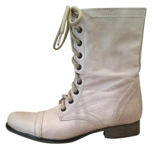 Steve Madden Leather Cream Unique Natural Boots