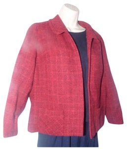Burberry Mint Vintage Great Separate Button-less Style Or Coat 3/4 Sleeve/cropped burgundy/red wool tweed Blazer