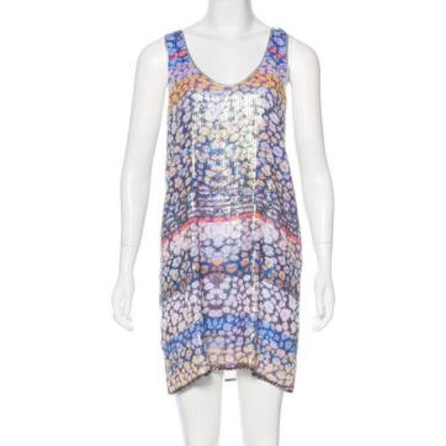 Item - Multi Color - Purple Cheetah Sequin Mid-length Night Out Dress Size 4 (S)