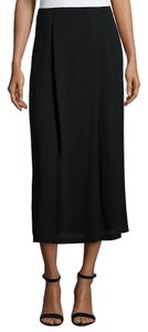 Eileen Fisher Silk Georgette Pleated Midi Maxi Skirt BLACK
