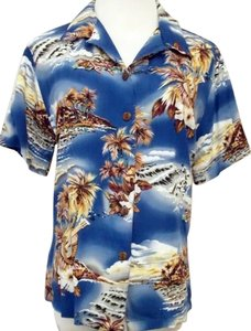 Hilo Hattie Hawaiian Shirt Women's Large Ukulele Palm Trees Button Down Shirt Multi-Color