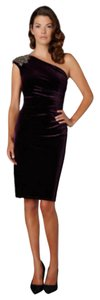 David Meister Velvet One Shoulder Dress