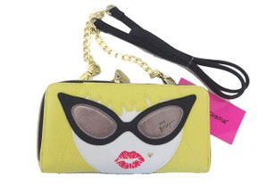 Betsey Johnson WALLET ON A STRING BLACK/YELLOW /