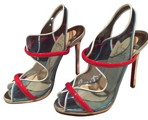 Christian Louboutin Blue, Red and White Platforms