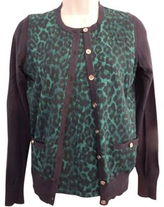 Ann Taylor Leopard Cotton Animal Print Sweater Green Cardigan