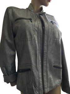 Chico's Moto Silver Leather Motorcycle Jacket
