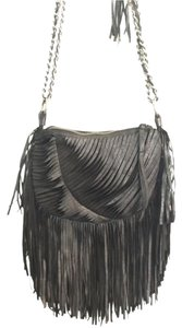Nanette Lepore Fringe Chain Silvertone Shoulder Bag