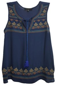 Sanctuary Clothing Rayon Embroidered Sleeveless Top Navy Blue