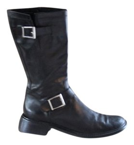 Donald J. Pliner black with Silver buckles Boots