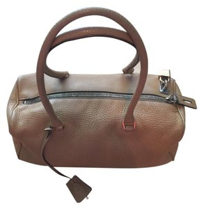 Prada Leather Pepple Grain Lock And Key Luxury Satchel in tan