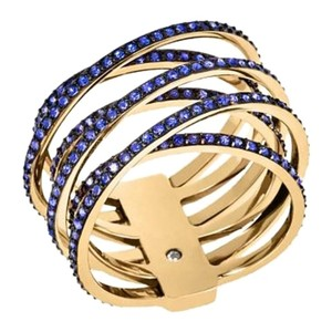 Michael Kors NWT Criss-Cross Gold tone Blue Crystals Ring MKJ50047108 SIZE 8