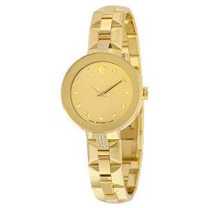 Movado Diamond Set Bezel Mirror Dial Gold Stainless Steel Designer watch