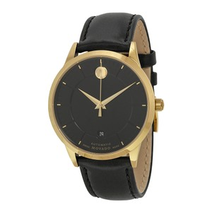 Movado Black Dial Gold Stainless Steel Leather Strap Designer MENS Watch