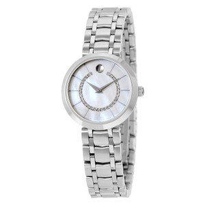 Movado Mother of Pearl Diamond Set Dial Silver Stainless Steel Watch