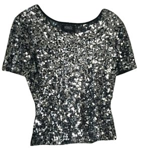 Adrianna Papell Sequin Sparkle Short Sleeve Top Pewter