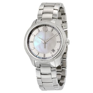 Movado 80 Diamond Pave Bezel Mother of Pearl Dial Luxury Ladies Watch