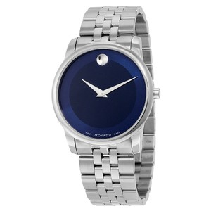 Movado Blue Dial Silver Stainless Steel Designer MENS Dress Watch