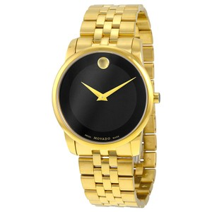 Movado Black Dial Gold Stainless Steel Designer MENS Dress Watch