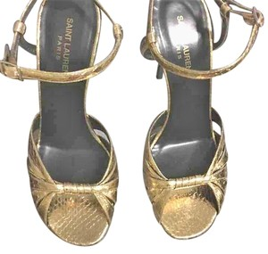 Saint Laurent Ysl Yves Gold Sandals