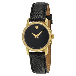 Movado Black Dial Gold Stainless Steel Leather Strap Designer Ladies Watch