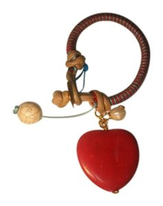 Red Heart multicolor bracelet with stone heart.