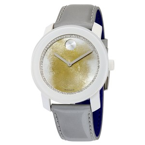 Movado Gold Glitter White Dial Grey Patent Leather Strap Ladies Watch
