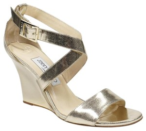 Jimmy Choo Fearne 37.5 Wedge Gold Wedges