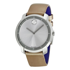 Movado Silver Stainless Steel Pink Blush Shimmery Strap Designer Watch