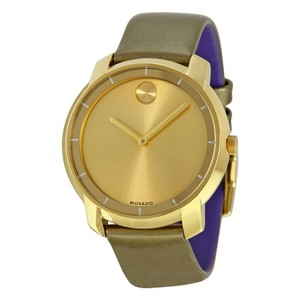 Movado Gold Stainless Steel Dial Green Leather Strap Ladies Designer Watch