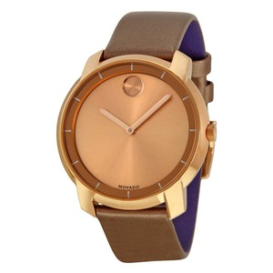 Movado Rose Gold Brown Leather Strap Designer Ladies Dress Watch