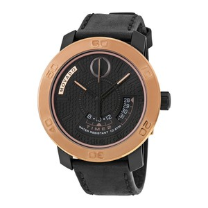 Movado Black and Rose Gold Stainless Steel Leather Strap Sport Watch