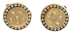 Lucien Piccard Lucian Piccard Diamonds & Seed Pearls 22mm 14k Gold Stud Cufflinks