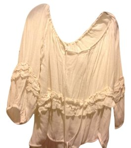 Denim & Supply & Peasant Brand New With Tags Drawstring And Ruffles Top Beige