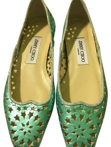 Jimmy Choo Metallic Teal Flats