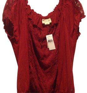 Denim & Supply & Pesant Style Brand New Lace Inset Sleeve Top Burgundy