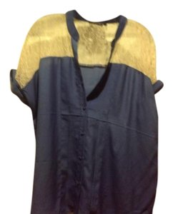 The Limited Blue Front And Back New Tags Button Front Top Slate blue,Mitch beige lace