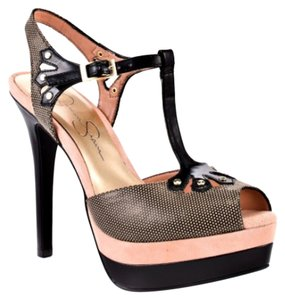 Jessica Simpson T Strap Heels Fishnet Studded Sexy Black, gold, pink Platforms
