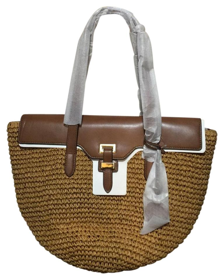 1074f592504d MICHAEL Michael Kors Naomi Large Walnut Straw/Leather Tote - Tradesy