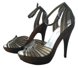 Penny Loves Kenny Sexy Platform Stiletto Jelly Wood Heel brown Pumps