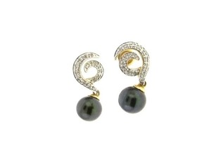 STEAL-14k Diamond, Black pearl dangle earrings