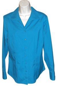 Chico's Cotton Blouse Non-iron Button Down Shirt TURQUOISE