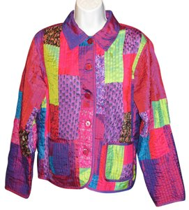 Coldwater Creek Silk Patchwork MULTI-COLOR Jacket