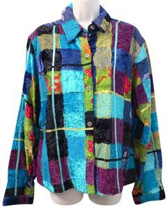 Chico's Patchwork Floral Lined MULTI-COLOR Jacket