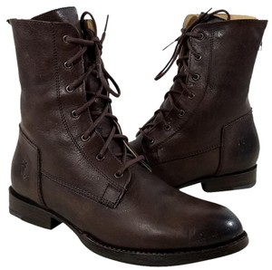 Frye Lace-up Back Zip Almond Toe Dark Brown Boots