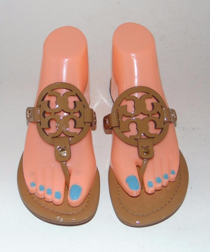 35f1a251650e Tory Burch Miller Tan Patent Big Logo Brown Sandals Image 0 ...