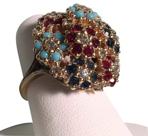Ciner Large Crystal Floral Cocktail Ring