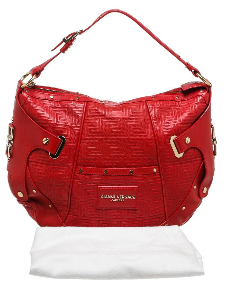 5f17c84288 Versace Gianni Quilted Silver Studded Handbag Red Leather Hobo Bag ...